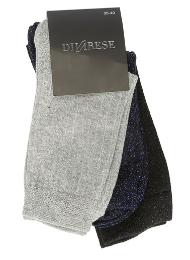 Divarese 3'lü Çorap Gümüş